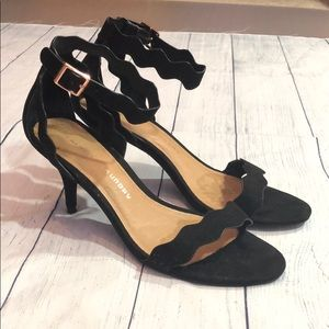 Chinese Laundry Black Rosie Suede Scalloped Heels